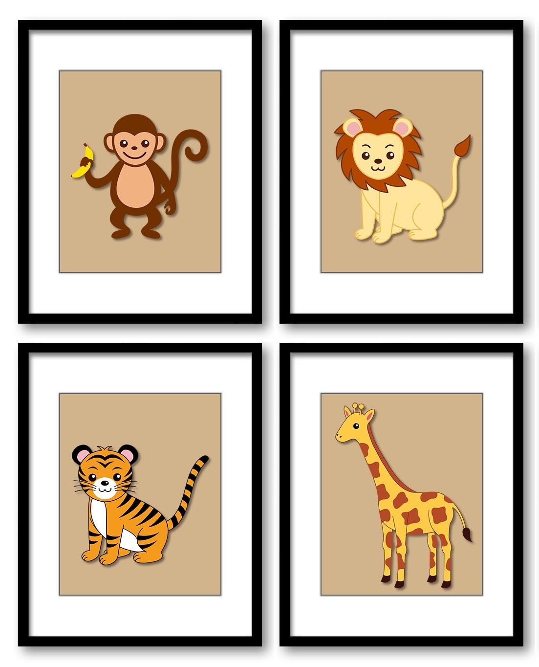 Africa Safari Jungle Animals Kids Room Nursery Art Nursery Print Baby Beige Set of 4 Prints Tiger Mo