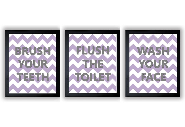 Purple Lavender Grey Gray Bathroom Nursery Art Child Baby Art Print Set of 3 Kids Wall Art Decor Che