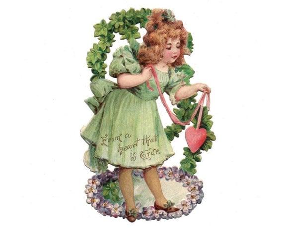 Antike Valentine Mädchen in grün mit Herz auf Multifunktionsleiste Chromolitho geprägte Die Cut Card oder Schrott