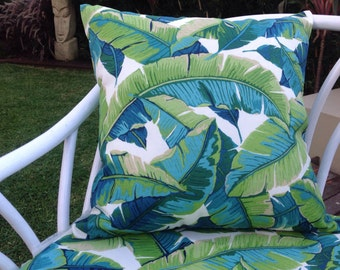 Outdoor Cushions Outdoor Pillows Palm Leaves Green Turquoise Blue White Indoor Outdoor Decorative Pillows Alfresco Cushions Tropical Pillows
