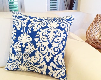 Blue Tropical Cushions Tropical Pillows Resort Style Blue and Ivory Designer Style Decor Damask Cushion Covers
