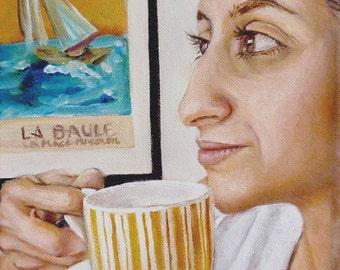 Art Print Reproduction // Daydream // From Original Acrylic Painting // Portrait Painting // 16 cm x 16 cm // Cynthia Katz
