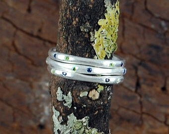 Silver Single Stacking Ring - Gemstone Stackable Rings