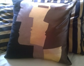 "MAN CAVE Pillow! Black Suedecloth Contemporary ""Man Three"""