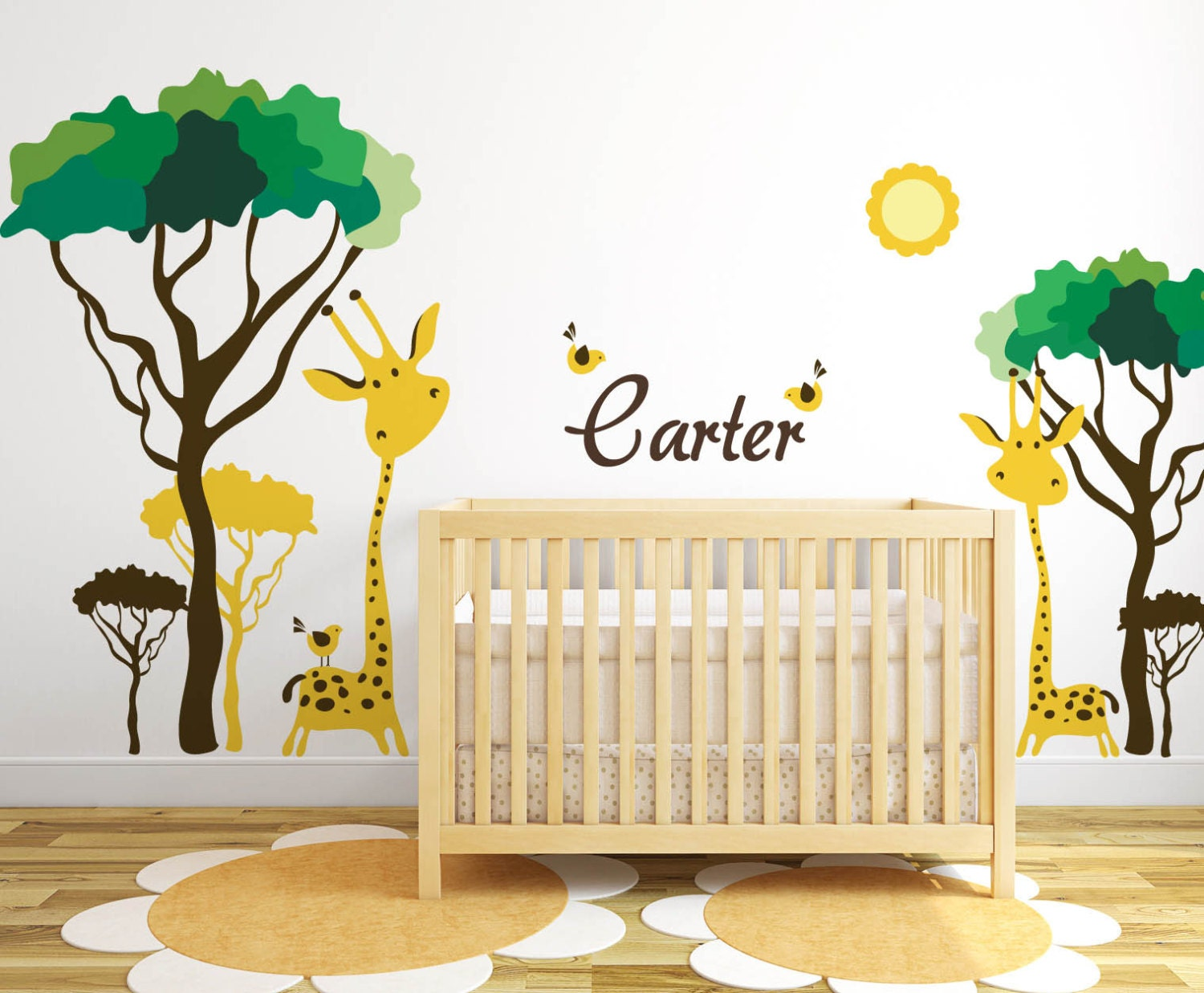 Baby nursery ideas safari giraffe and birds decals for walls for Baby name nursery decoration