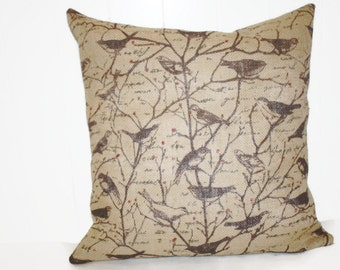 Burlap Fall Birds Pillow Cover 12x16, 16x16