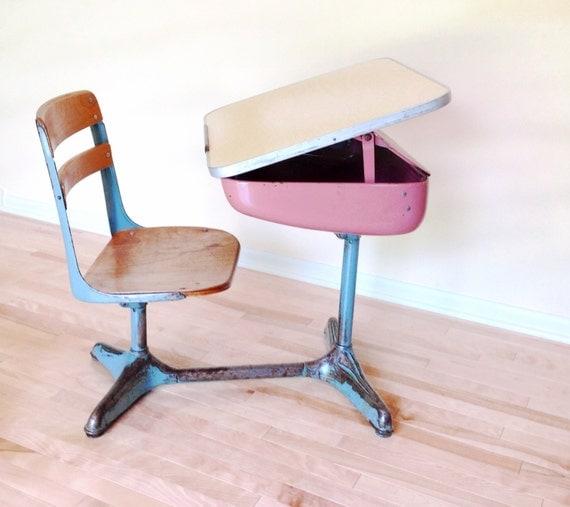 school desk 1950 39 s desk chair combo pink and blue streamline design