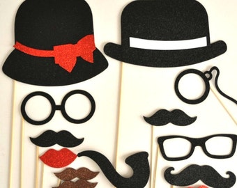 Parisian Inspired Wedding Photo booth props glasses  Birthday props  photo booth party props mustache