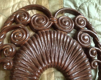 pair vintage l975 wicker look swirly scroll tapered candle holder wall sconces by Burwood Ind.