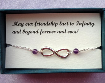 Friendship gift, Infinity bracelet, Silver infinity amethyst bracelet, Silver bracelet, Infinity jewelry, Bridesmaids gifts