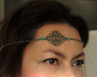 Turquoise headchain, Boho head jewelry, Boho chic turquoise head piece, Gypsy head chain, Chain headpiece, Bronze turquoise headband