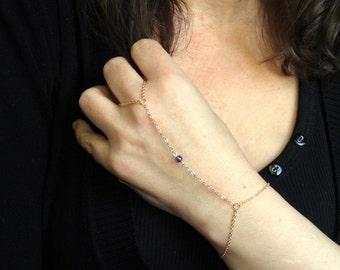Gold amethyst slave bracelet, Slave bracelet ring, Amethyst hand bracelet, Gold slave bracelet, Bead slave bracelet UK, Hand jewelry