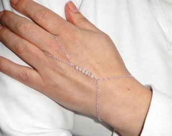 Silver crystal slave bracelet, Slave bracelet ring, hand bracelet, Silver crystal hand jewelry, Delicate jewelry