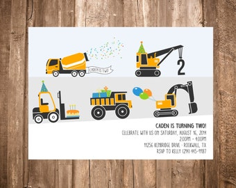 Construction Trucks Birthday Invitation; Printable or set of 10