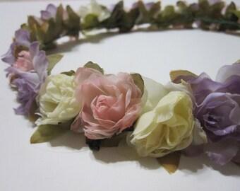 MISAKI (XII) Purple, Pink, and Cream Floral Headband