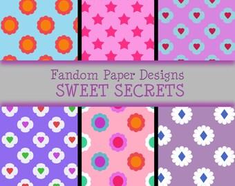 Sweet Secrets - Digital Scrapbook Paper - Six Sheets