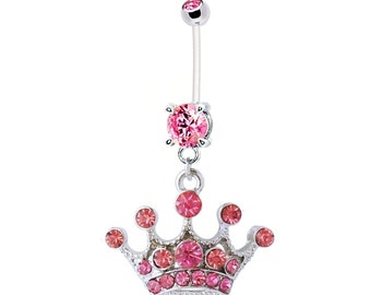 Pregnancy Belly Ring PINK JEWELED CROWN 14g BioFlex Navel Piercing Maternity Body Jewelry