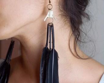 Taxidermy earrings - real rabbit vertebrae and black feathers dangly earrings