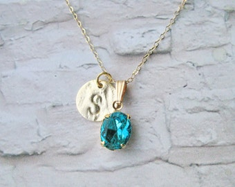 Initial necklace, Birthstone Necklace, Gold Birthstone Necklace, Monogram Necklace, Personalized Jewelry, May Birthstone Necklace.
