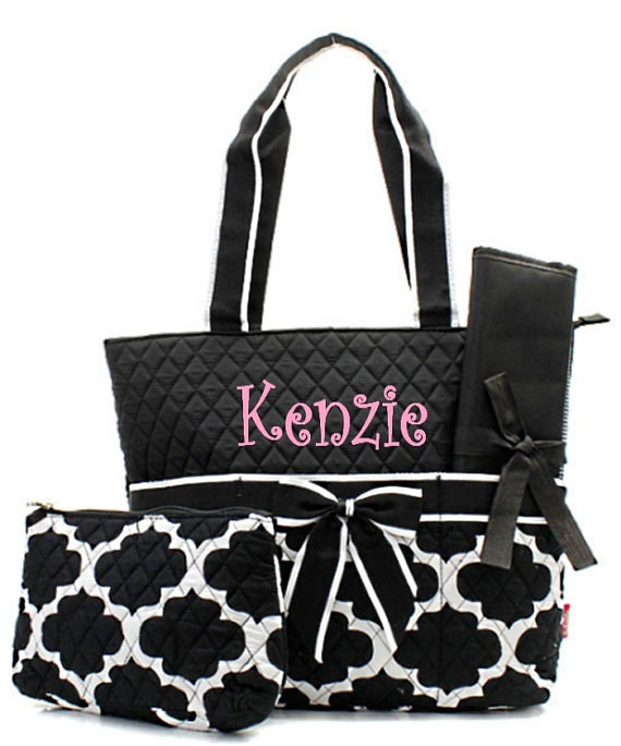items similar to machine embroidered quilted diaper bag geometric quatrefoil design in black. Black Bedroom Furniture Sets. Home Design Ideas