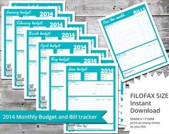 Filofax Budget and Bill tracker - Instant Download sized 95mm x 171mm