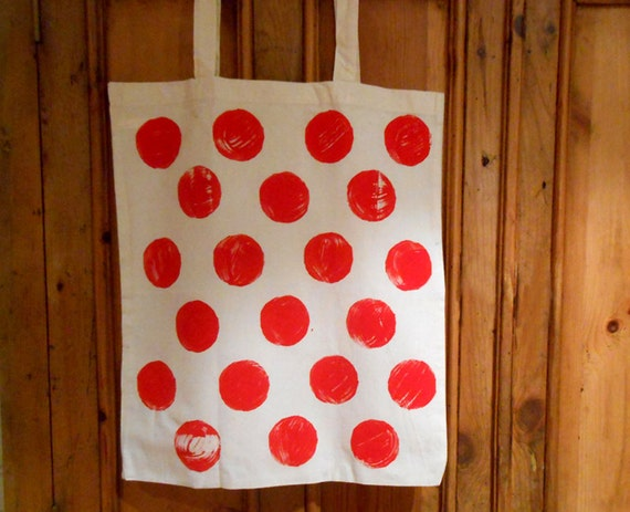 Hand-stamped Spot Tote Bag - Red Black - Natural Cotton Polka Dot