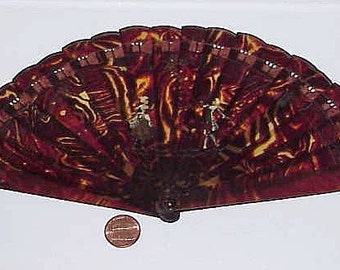Victorian Celluloid Torty HAND FAN with 2 Hand Painted Figures in Full Costume