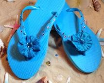 Gorgeous blue swavarski crystal flip flops size 5/6! End of season SALE!!