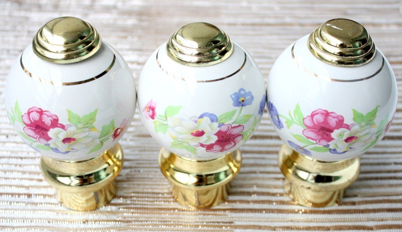 Ceramic Finials Bed Posts Porcelain Door Knobs Floral Door