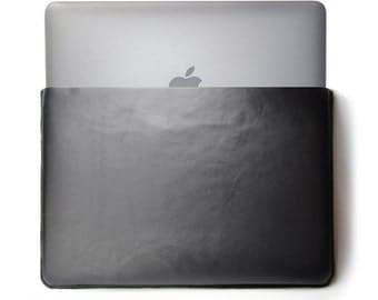 "MacBook Leather Sleeve, Leather Wool Felt Sleeve, MacBook Pro Retina, MacBook Air 11"" 13"" 15"" 17"", Mac Book Case, Handmade"