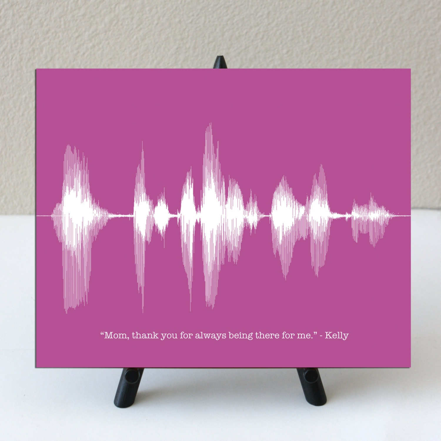 8x10 Your Voice Message into Sound Wave Art - Personalized Mother's Day Gift for Mom, Grandma - Artboard Mounted Archival Paper Giclee Print