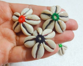 Cowry Shell Motifs/Cowry Shell Rosettes - 20 Cowrie Shells  Flower With mirror
