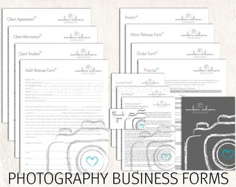 Photography business forms kit sketch camera teal, grey & white style editable templates - 13 psd files supplied