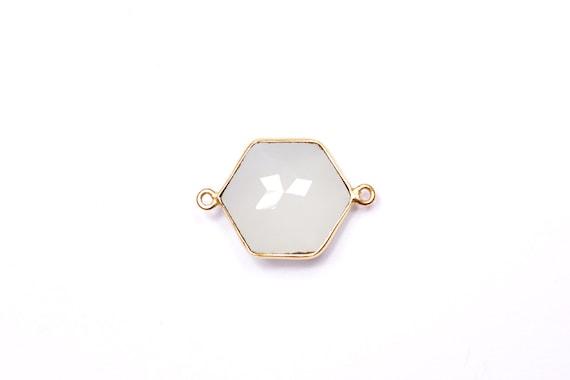 Connector gem pendant - geometric  faceted bezel - light aqua - green chalcedony - vermeil gold