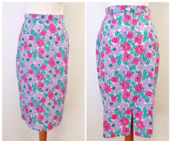 vintage 1980 s floral pastel pencil skirt by thegrungemonkey