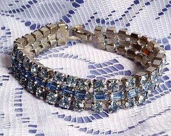 BREATHTAKING Blue Baguette & Chaton Rhinestone Vintage Bracelet