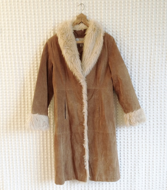 Suede Coat Wilson Leather Maxima Brown Womens Long Suede And