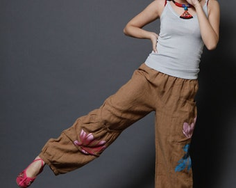 Lotus Flower Pants with Pocket  Women's Wide Leg Fashion Pants Trousers Hand Painted