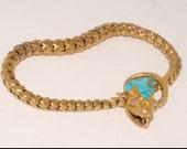 18k yellow gold and turquoise snake bracelet c 1870