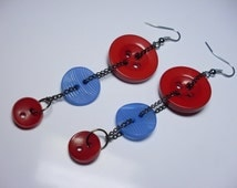 Back to school! Teacher's Button Earrings. Truck Red and Book Blue, Symmetrical Jazzy Dangle Fashion. Original and Bold! Silver hooks