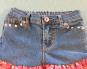 upcycled jean skirt for infants, toddlers, and girls.