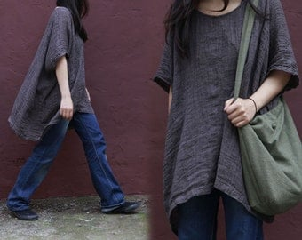 192---Textured Linen Top, Supersize Short Sleeve Brown Crinkle Linen Blouse, Made to Order.