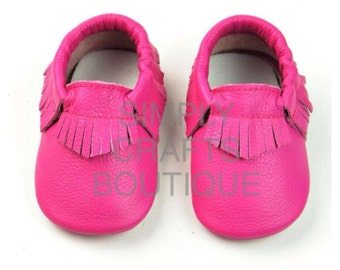 SALE Hot pink Leather baby moccasin
