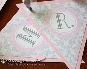Gray Damask Bridal Shower/Wedding/Baby Shower Banner