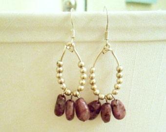 Earrings - Silver and Purple Small Dangle Earrings