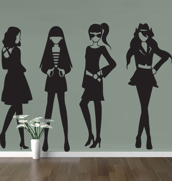 Models designer fashion Wall sticker decal art teen womans