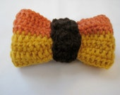 Handmade crocheted bows for pets collar, slip on, Large Orange, Gold and Brown Fall