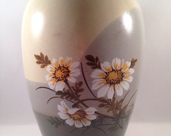1970's Vase Otagiri Japan Daisy Ivory Green Blue Gray Grey Handcrafted Stoneware Pottery