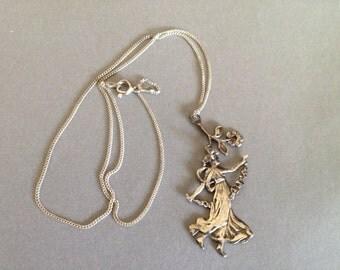 Vintage Silver Art Nouveau Lady Pendant & Chain