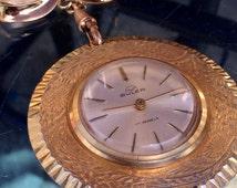 Vintage Ladies Buler 17 Jewel Gold Pendant Watch
